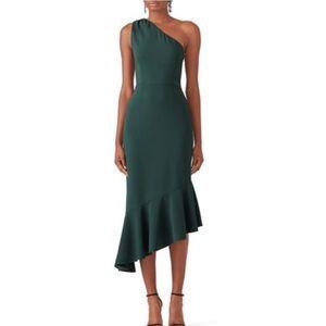 HUTCH Green Ruffle Hem Dress